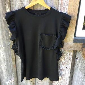 Drew | Ruffle Short Sleeve Black Top NWT